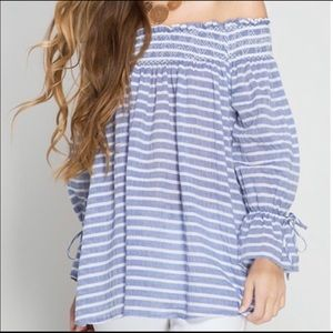 Off Shoulder Tunic Nautical Appeal